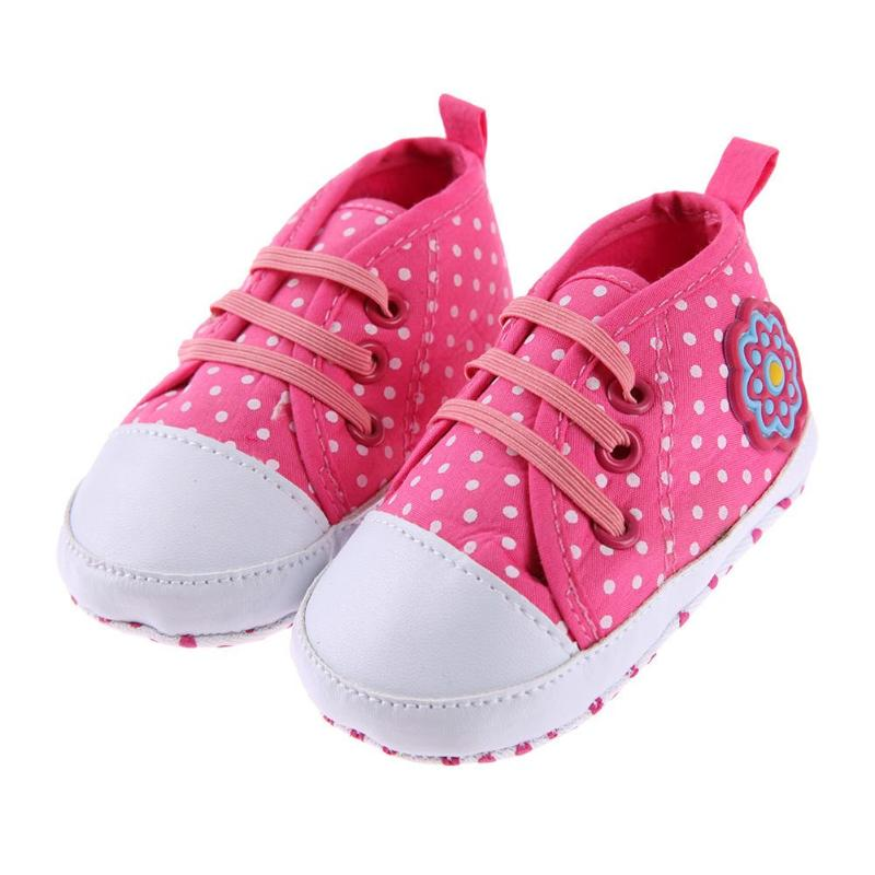 Infant Classic Sports Sneakers Newborn Baby Boys Girls First Walkers Shoes Infant Toddler Soft Sole Sneakers Dot Rose Red