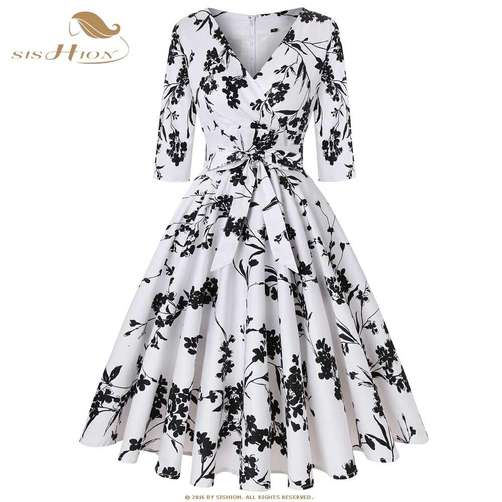 US $27.62 26% OFF|SISHION High Quality Vintage Retro Cotton Floral Dress  Women 3/4 Sleeve Autumn Tunic Midi White Swing Plus Size Dresses SD0006-in  ...