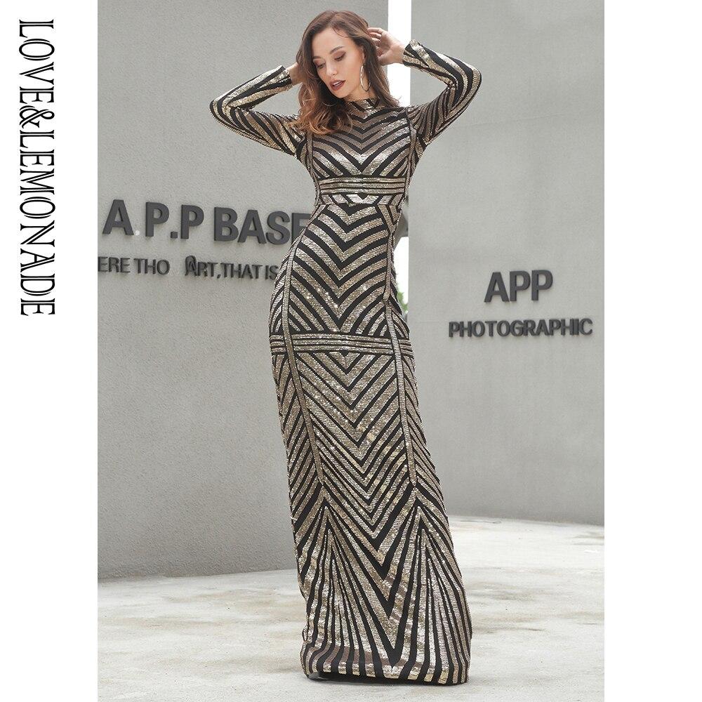 Liebe & Limonade Gold Stehkragen Slim Fit Elastische Geometrische Pailletten Lange Kleid LM81212-in Kleider aus Damenbekleidung bei  Gruppe 1