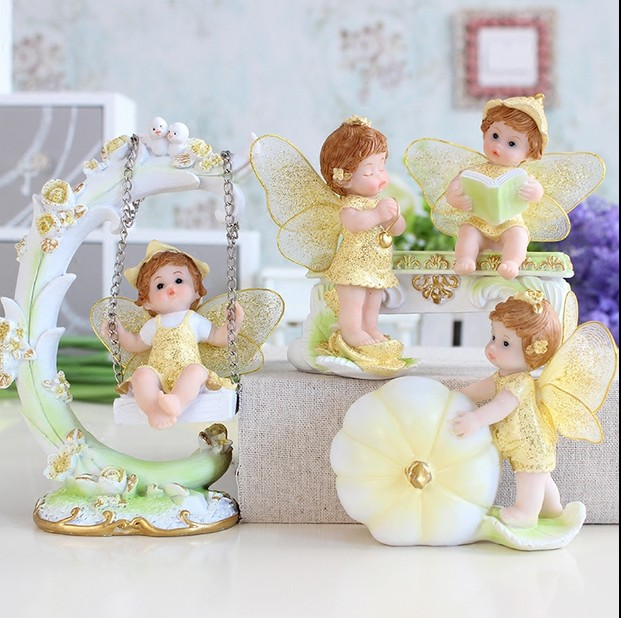 Cute Resin Forest Fairy with Wing Figurine Home Decoration Garden Decor Wedding Gift 6 Designs DEC090
