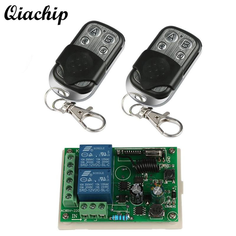 QIACHIP 433Mhz 4 Channel RF Relay Remote Control Toggle Switch DC 12V Receiver Module 433 Mhz Transmitter Remote Controls Diy 315 433mhz 12v 2ch remote control light on off switch 3transmitter 1receiver momentary toggle latched with relay indicator