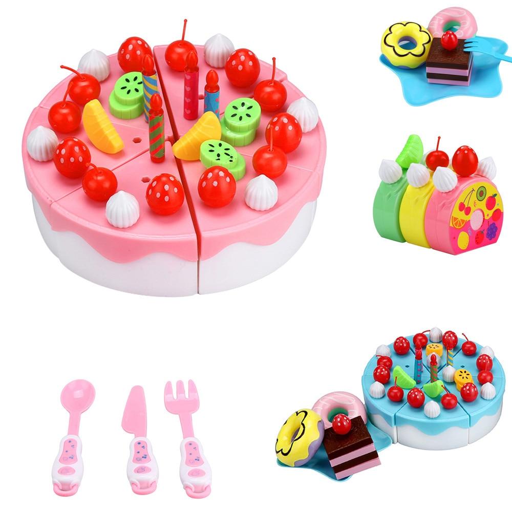 Hot Sale Children 63pc Cutting Fruit Cake Pretend Play Children Kid Educational Christmas Gift Interesting Play House Toys Set