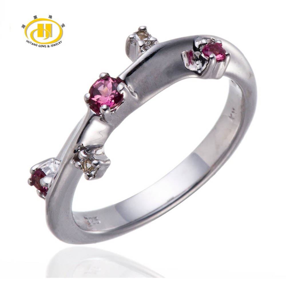 Hutang Pink Tourmaline & White Topaz Gemstone Rings Solid 925 Sterling Silver Band Ring Beautiful Design Fine Jewelry Women Ring