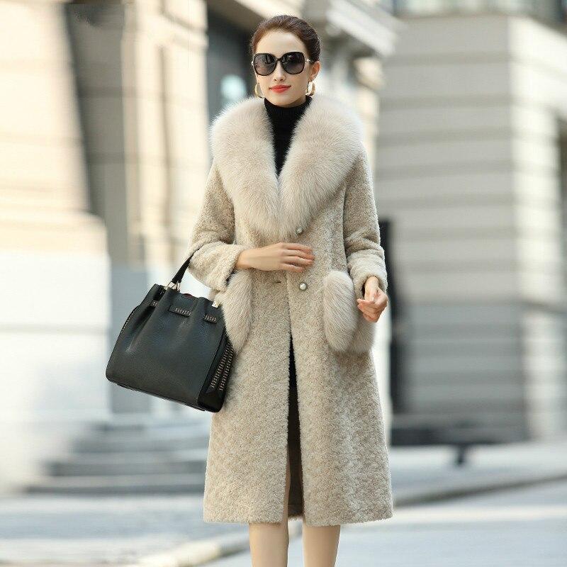 Vêtements Mouton Hiver 2018 En Beige Coréen Vintage Laine Femmes Moutons Col 100 Renard Fourrure Veste Réel Zt1454 Manteau De Manteaux Automne Peau xgnqIw80HA