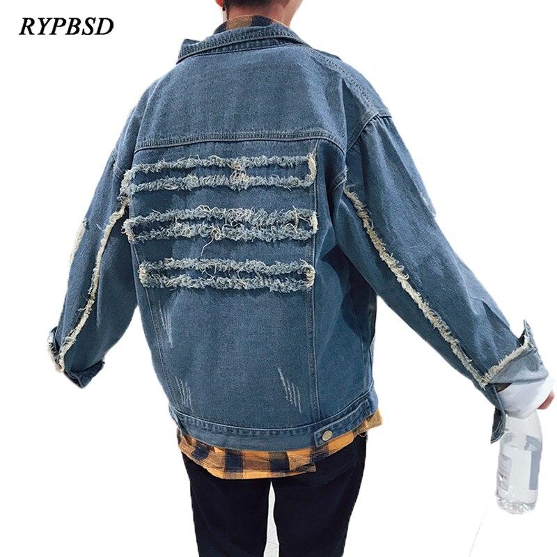 2018 printemps automne mode Vinage trou déchiré bleu Denim veste hommes surdimensionné Hip Hop Bomber lavé Jeans Outwear grande taille 5XL