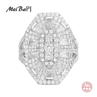 [MeiBaPJ]Real 925 Sterling Silver White Luxurious Ring for Women with AAA High Quality Stones Party Fine Jewelry