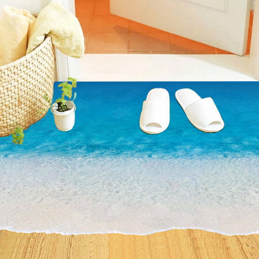 diy 3d ground decal creative sea beach floor stickers for bathroom kids bedroom pvc waterproof wall stickers home decorations - Beach Decorations