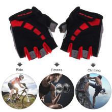 Red Anti-slip Breathable Lycra Cycling Half Finger Gloves with Shockproof Gel Padding for MTB Bicycle