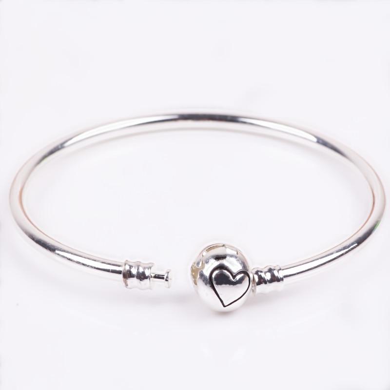 Ranqin 2018 Original Charm Fashion Trend Silver Heart Pure Bracelet Jewelry DIY For Women Bracelet Jewerly