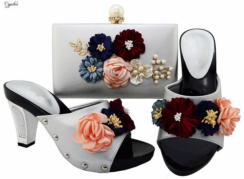 Elegant lady party shoes and evening bag set with flower on it BL001 in silver ,heel height 7.7cm elegant lady lace flower and fascinator veil design banquet party black cocktails hat