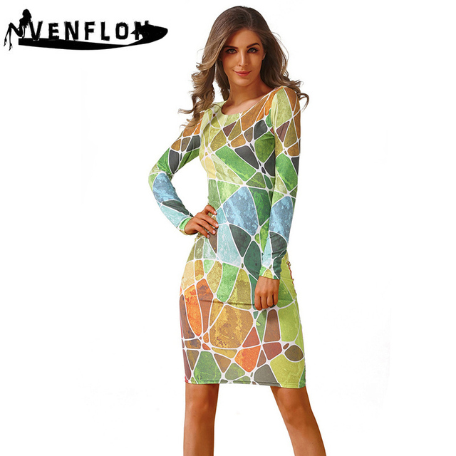 VENFLON Spring Summer Dress Women 2019 Casual Plus Size Long Sleeve Office  Bodycon Dress Female Sexy 2a4335e1afb5