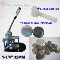 Free Shipping For 1 1 4 32 MM Badge Maker Button Machine 500 Sets Metal Pin