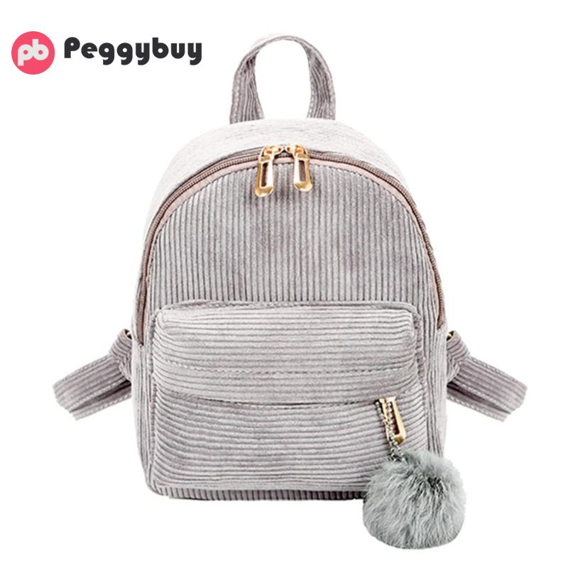Vintage Travel Backpacks Women Girls Mini Corduroy Backpacks Shoulder Schoolbag Cute Retro Casual Zipper Travel Bag Soft Mochila
