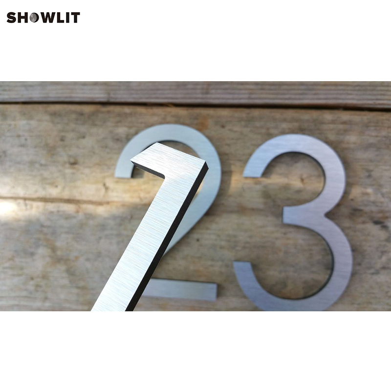 Wall Mounted Brushed Stainless Steel Modern Garden Numbers цена