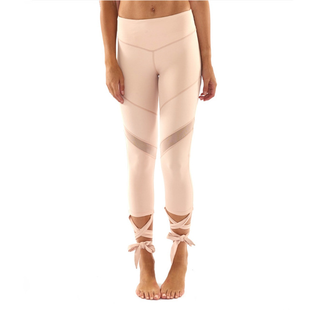 96d4b5ba0a0e1 JIGERJOGER High waist Bandage wrap up straps Mesh patches Yoga Pants  Ballerina Compression fitness tights Flex Ballet Leggings