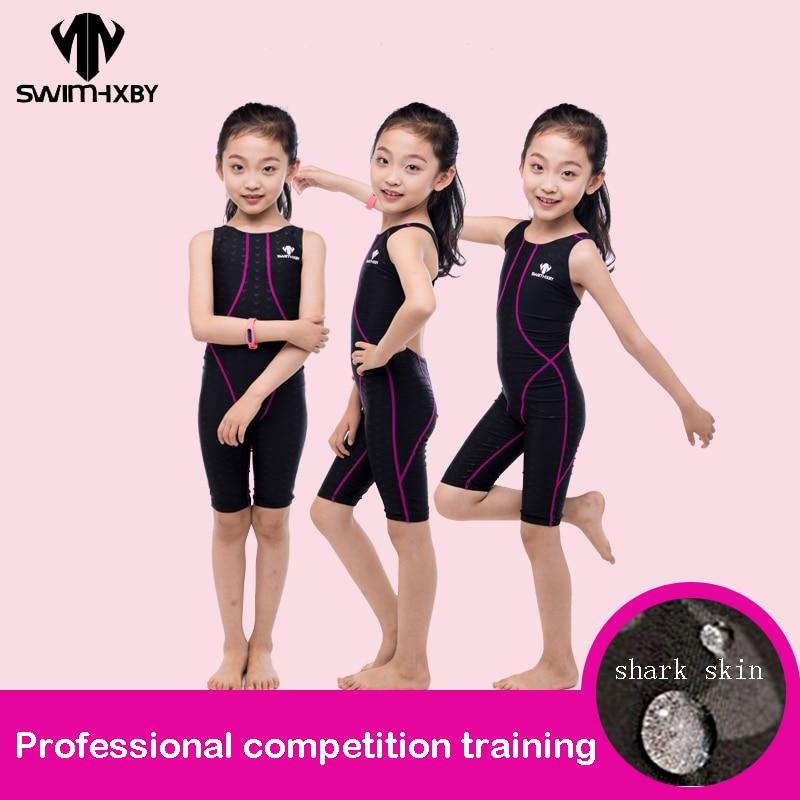 Kinder Einteiler Humorvoll Hxby Wettbewerb Badeanzug Für Mädchen Ein Stück Kinder Professional Schwimmen Anzug Für Mädchen Konkurrenzfähigen Bademode Kinder Knie Schwimmen
