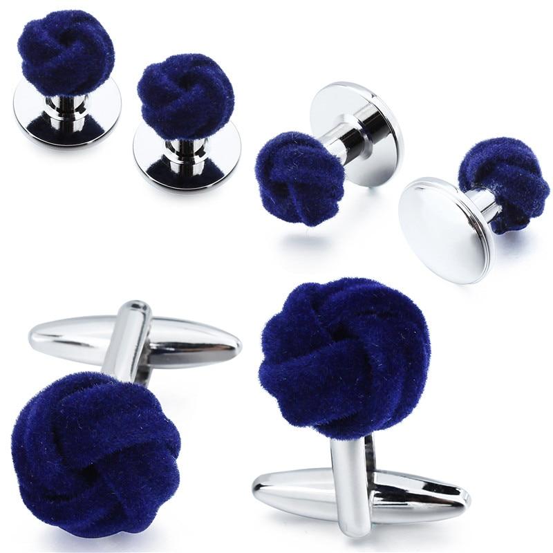 HAWSON Men's Tuxedo Shirt Jewelry Cufflink Stud Set Fashion Blue&Purple Silk Knot Cuff Links Button Come With Box