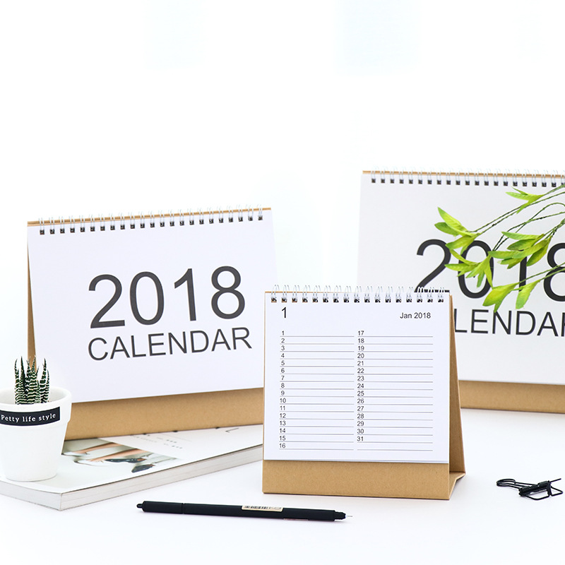 2018 Year Kraft Paper Natural White Color Calendar Planner Note Desk Table Small Medium Size In From Office School Supplies On