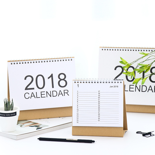 2018 year kraft paper natural white color calendar planner note desk table calendar small medium big