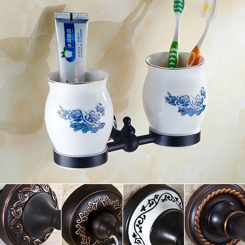 ФОТО European Style Wall Mounted Ceramic Cup Toothbrush Tumbler Cup Holder Bathroom Double Cup Bath Product