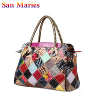 San Maries New Luxury Europe Fashion Women Bags Ladies Patent Leather Shoulder Handbag Snake Pattern Messenger Bag