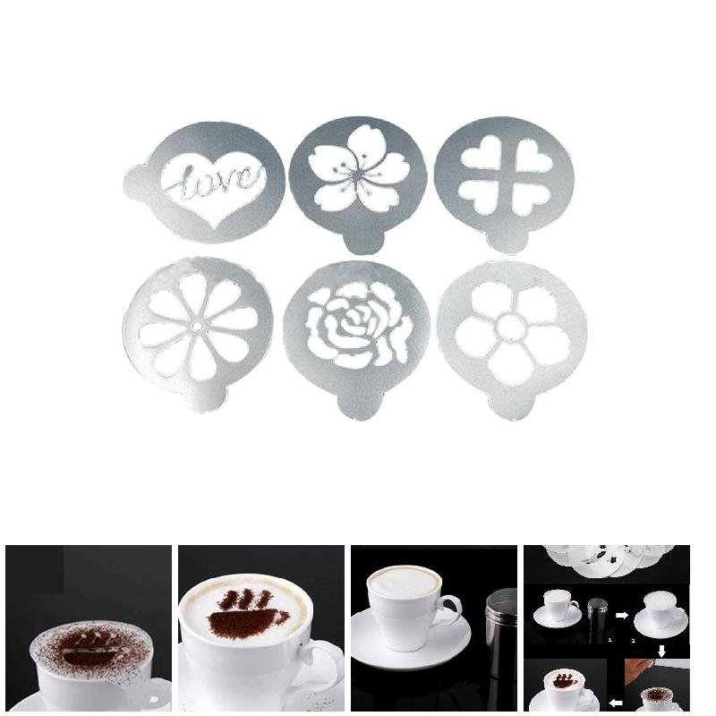 6 Teile/satz Kaffee Schablone Kunststoff Milch Kuchen Cupcake ...