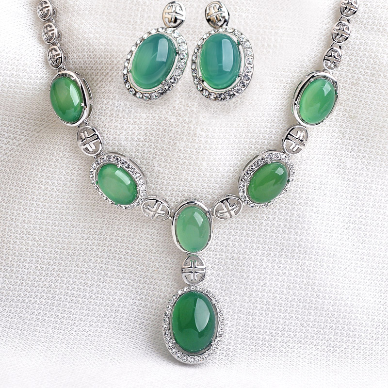 LUXURY Wedding Jewelry Set 6pcs Natural Green Stone Pendant Necklace Silver Stud Earrings for women Bride AAA Austria Crystal S8LUXURY Wedding Jewelry Set 6pcs Natural Green Stone Pendant Necklace Silver Stud Earrings for women Bride AAA Austria Crystal S8