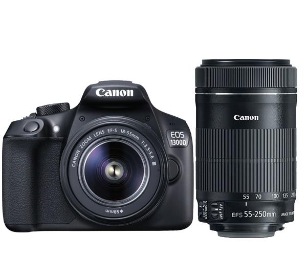 New Canon EOS 1300D Rebel T6 DSLR Wi-Fi Camera & EF-S 18-55mm IS III Lens & EF-S 55-250mm IS STM Lens canon eos 650d kiss x6i dslr camera w 18 55mm ii is lens kit