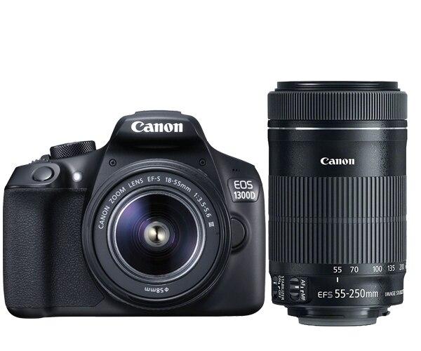 New Canon EOS 1300D Rebel T6 DSLR Wi-Fi Camera & EF-S 18-55mm Lens & EF-S 55-250mm IS STM Lens