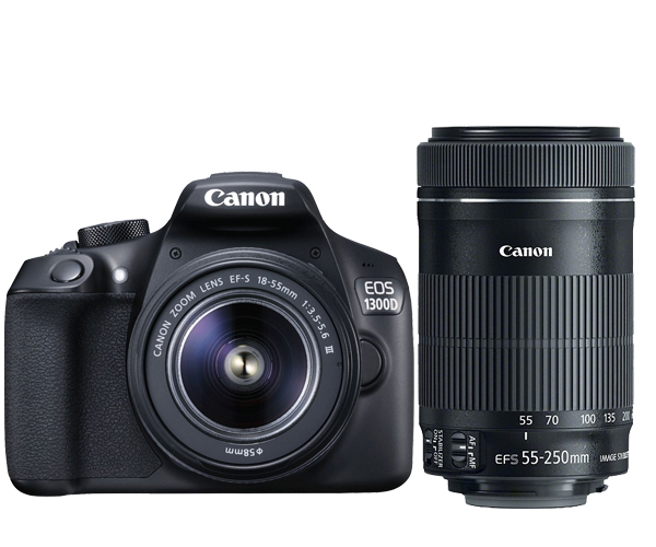 New Canon EOS 1300D Rebel T6 DSLR Wi-Fi Camera & EF-S 18-55mm IS III Lens & EF-S 55-250mm IS STM Lens