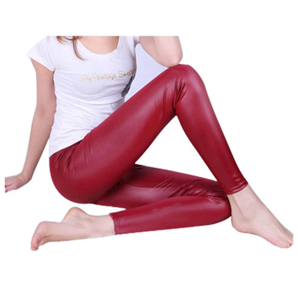 SYB 2016 NEW Shiny Metallic High Waist Burgundy Stretchy Leather Leggings