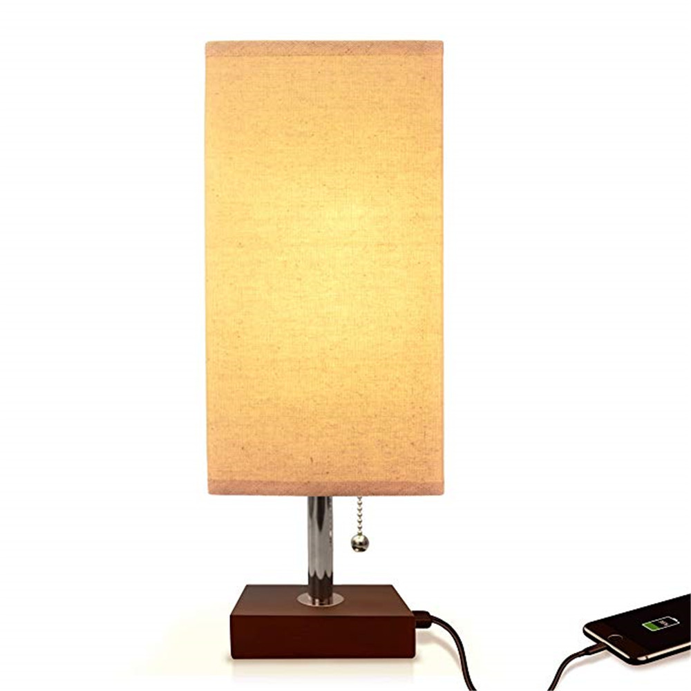 USB Table Lamp, Modern Design Bedside Table Lamps With USB Charging Port, Wooden Black Base Fabric Shade Nightstand Table Lamps