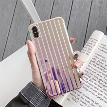 Luxury laser travel case surface phone For iphone XS MAX XR X fashion plating 6 6s 7 8plus silicone back cover