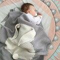 Conejo de dibujos animados Bebé Manta de Algodón tejido Tridimensional Patrón Trolley Niño Mantas de Bebé Recién Nacido Wrap Manta de Cama