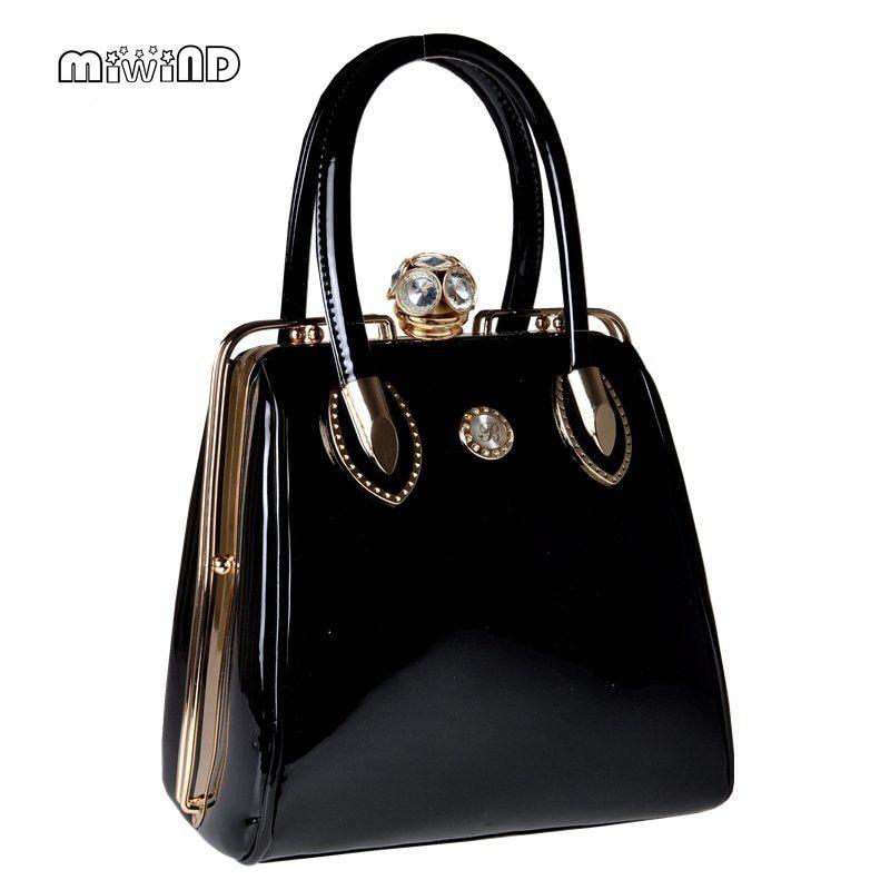 2017 Fashion Skull Diamonds Patent Leather Women Bag Crystal Ladies Evening Bag