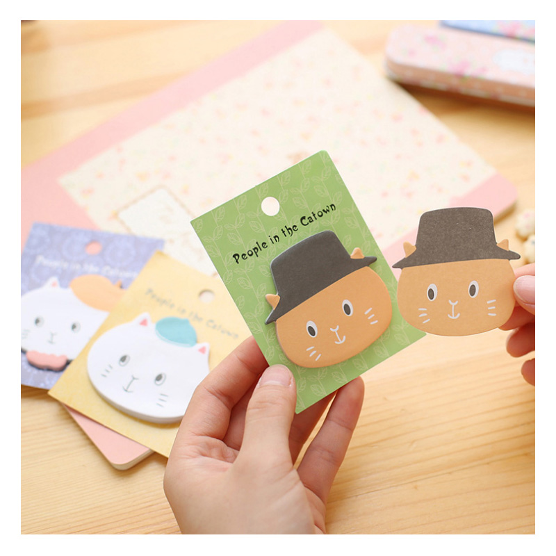 12pcs Kawaii Sticky Notes Molang Karteczki Samoprzylepne Cat Notes Cute Post It Planner Stickers Stationary Planner Papeleria sweet black cat and little carton shape sticky notes