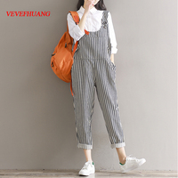 Mori Girl Style Casual Trousers New Fall Fashion Literature Female Autumn Cotton Jumpsuit Women Stripe Rompers with Pockets