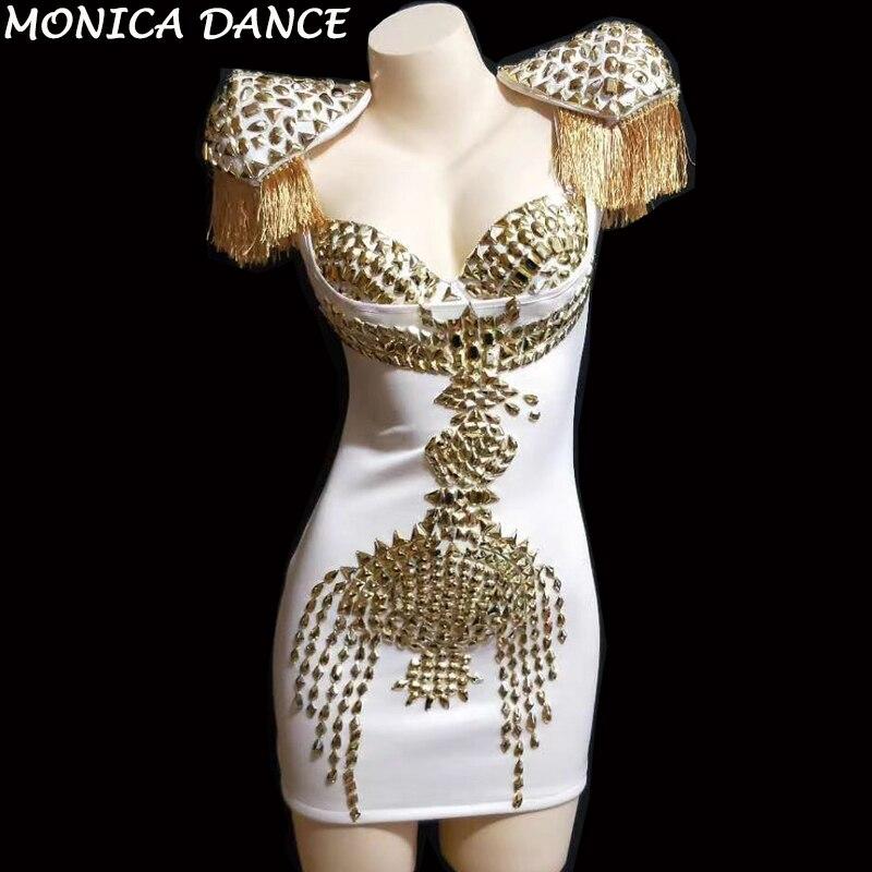 Пикантные золотые стразы кисточкой стрейч белое платье для женщин День рождения праздничное платье ночной клуб этап провечерние м певица