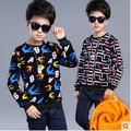Male child sweatshirt 2016 children's autumn and winter clothing plus velvet long-sleeve basic shirt thickening fleece child