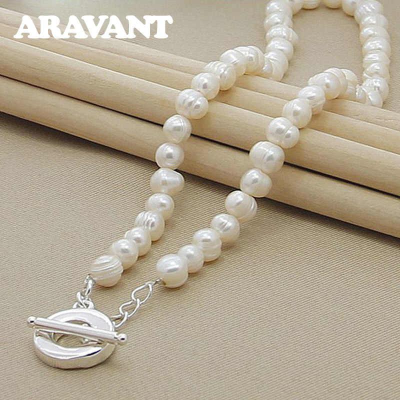 Naszyjniki z pereł słodkowodnych naszyjniki ze srebra próby 925 biżuteria dla kobiet biżuteria ślubna