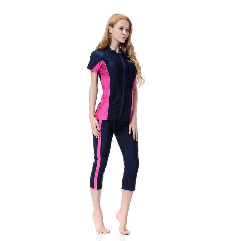 Women Modest Patchwork Full Cover Short Sleeve Swimsuit Islamic Swimsuit muslim Burkinis Muslim Swimwear Female