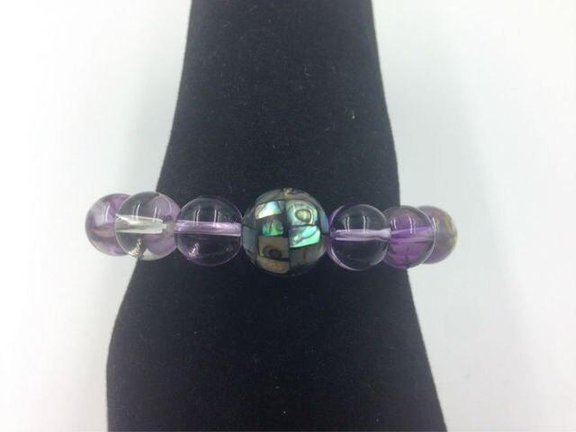 Aaa + чистый натуральный 10 мм аметрин и 12 мм пауа оболочки браслет прядь бусины ювелирных изделий