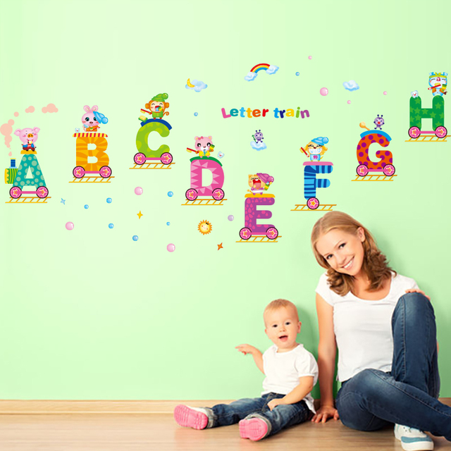 [SHIJUEHEZI] Removable English Letters Train Wall Sticker Vinyl DIY Animal Wall  Decals For Kids