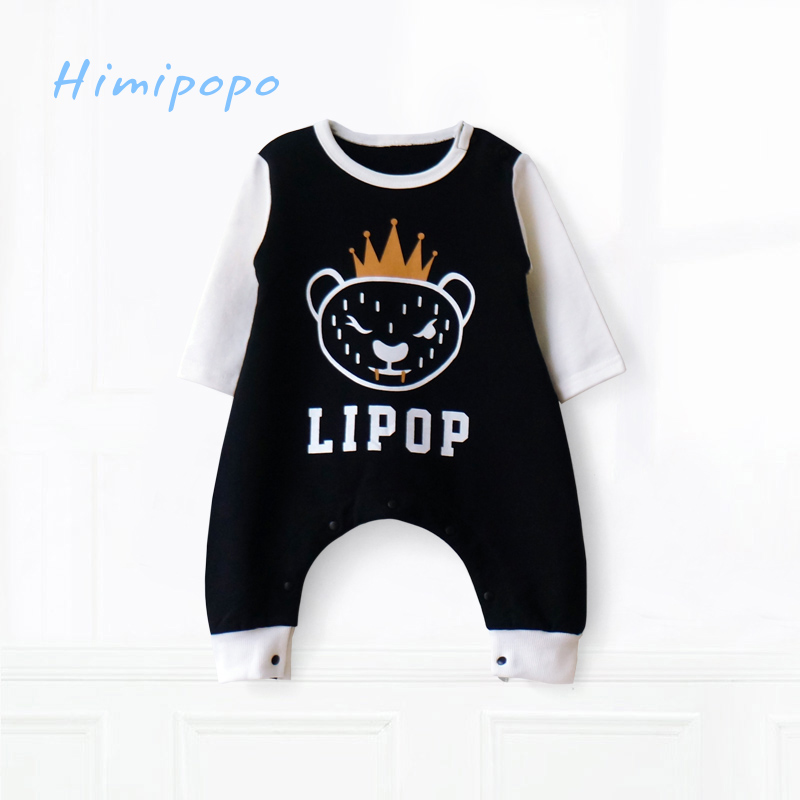 HIMIPOPO King Tiger Print Baby Romper Autumn Winter Clothes Long Sleeves 100 Cotton Boys Girls Clothing