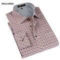 2017 primavera Nuevo estilo de Los Hombres camisas de manga Larga a cuadros finos marca hombres camisa de vestir de hombre de Negocios shirts casual para los hombres de gran tamaño
