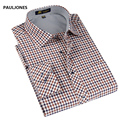 2017 spring New style Men's shirts Long sleeve fine plaid brand dress shirt men Business man casual shirts for men large size