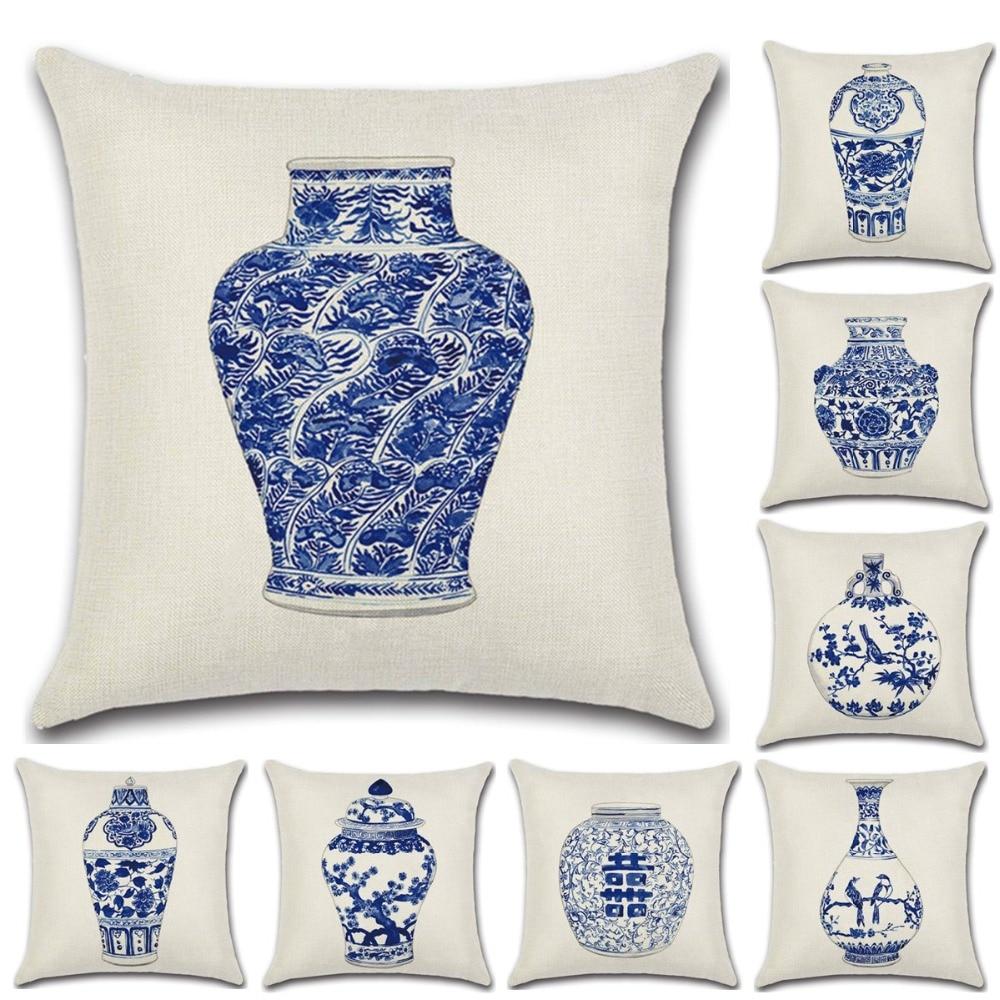 45*45cm Chinese Style Cushion Covers Blue and white Porcelain Printed Throw Pillows Cases Home Sofa Car Decor Chair Waist Pad