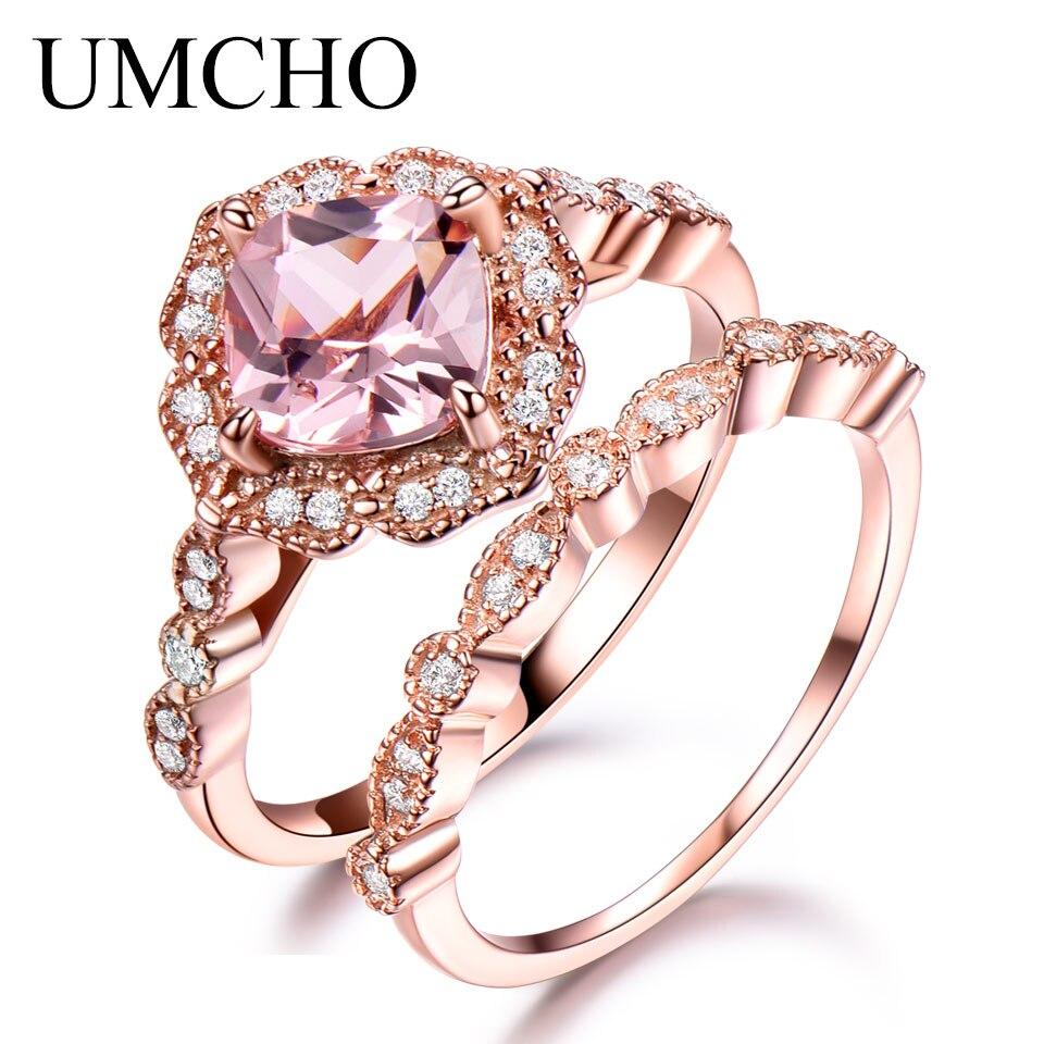 UMCHO 925 Set anillo de plata femenina Morganite compromiso banda de Boda nupcial Vintage anillos apilables para las mujeres joyería fina