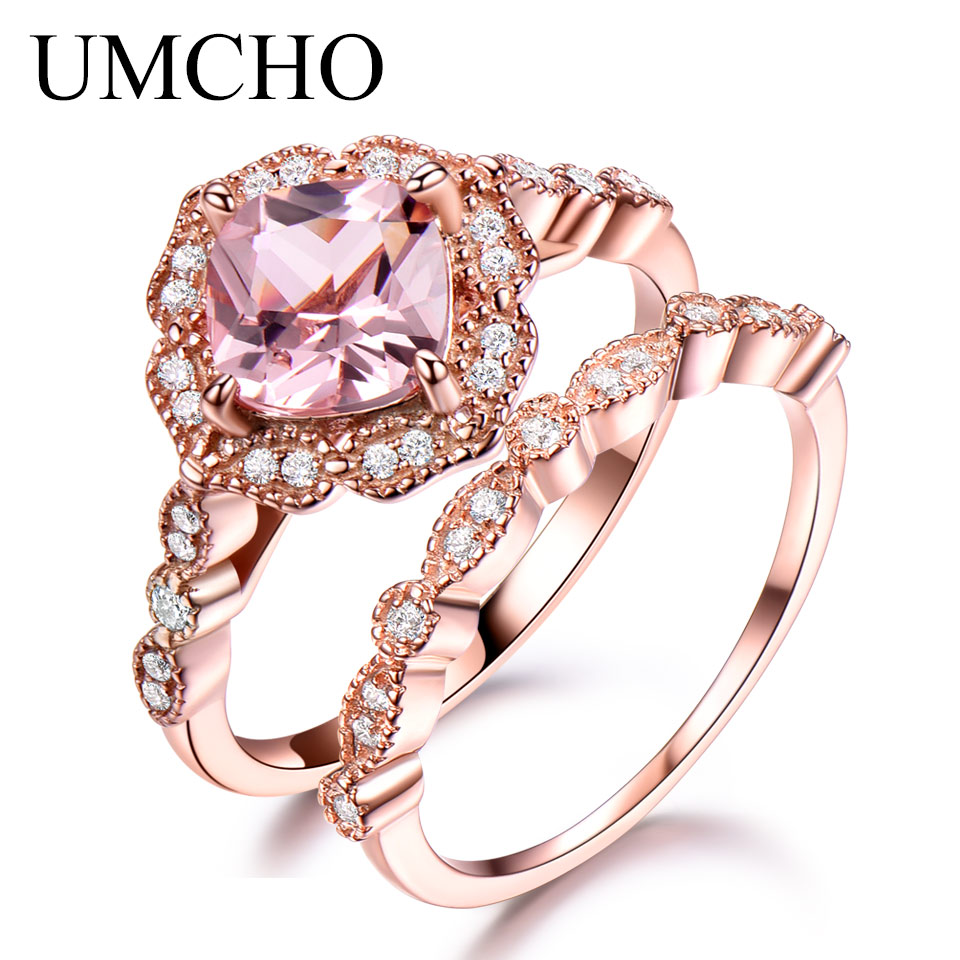 UMCHO Morganite 925 Anel de Prata Esterlina Conjunto Feminino Wedding Band Engagement Nupcial Do Vintage Anéis De Empilhamento Para As Mulheres Finas Jóias