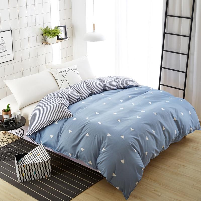 Home Textile 1 Piece Dark Blue Duvet Cover Plaid Stripes Skin Care Cotton Quilt Cover for Bedding 150x200cm/180x220cm/200x230cm
